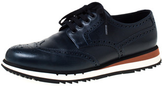 Prada Navy Blue Brogue Leather Wingtip Lace Up Oxfords Size 42.5