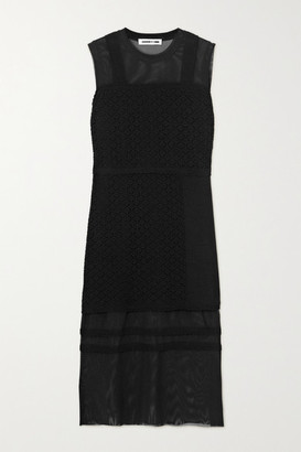 McQ Bralette Crocheted Cotton And Stretch-tulle Midi Dress - Black