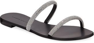 Giuseppe Zanotti Crystal-Strap Leather Slide Sandals