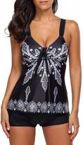 Crazycatz@Womens Two Pieces Paisley Print Plus Size Tankini Sets With Boyshorts