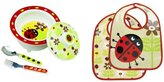 SugarBooger Covered Bowl, Silverware, and 2 Bibs Set-Ladybug