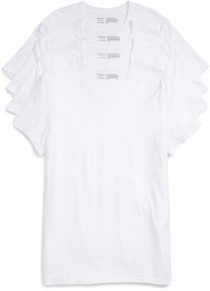 Nordstrom 4-Pack Trim Fit Supima(R) Cotton V-Neck T-Shirts