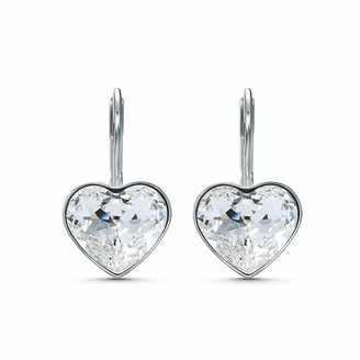 Swarovski Bella Heart Drop Pierced Earrings with Clear Crystals and Rhodium Plated Setting a Part of the Bella Collection