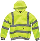 Forever Mens Dickies Hi Viz Hoodie Hooded Sweatshirt High Visibility Workwear Jacket