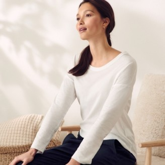 The White Company Soft Cotton Scoop-Neck Top, White, 6