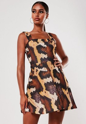 Missguided Brown Snake Print Square Neck Skater Mini Dress