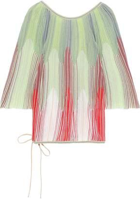 M Missoni Tie-back Degrade Crochet-knit Cotton-blend Blouse