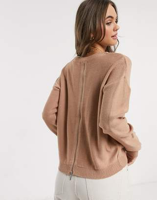 Brave Soul grundi boxy scoop neck sweater with zip back in dusty pink
