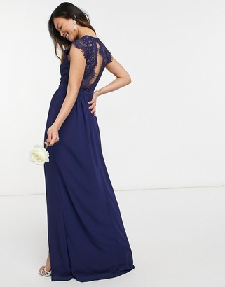 TFNC bridesmaid lace open back maxi dress in navy