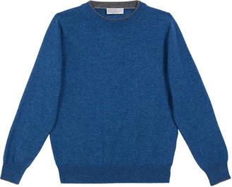 Brunello Cucinelli Boy's Cashmere Sweater w/ Contrast Trim, Size 12-14