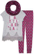 Self Esteem Positive Message Shirt w Scarf Legging Set- Girls' 7-16