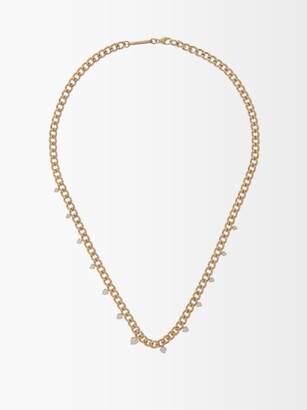 Zoë Chicco Graduating Diamond & 14kt Gold Curb-chain Necklace - Gold