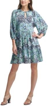 Calvin Klein Printed Tie-Neck A-Line Dress