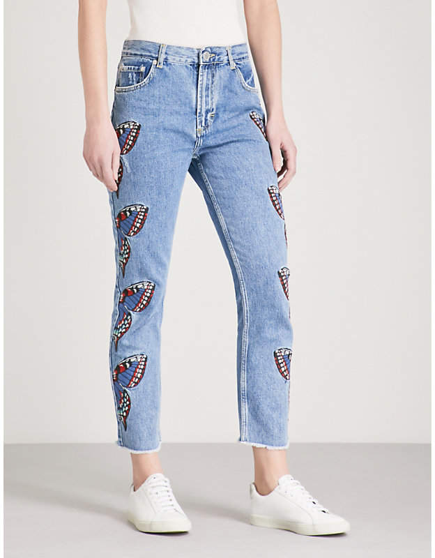 Maje Papillon butterfly-embroidered straight high-rise jeans