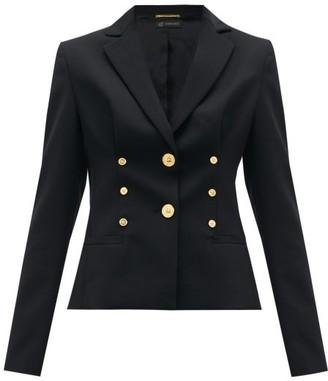 Versace Medusa-button Cropped Wool-blend Blazer - Black