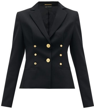 Versace Medusa-button Cropped Wool-blend Blazer - Womens - Black