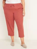 Old Navy Mid-Rise Linen-Blend Cropped Plus-Size Pants
