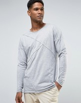 ONLY & SONS Longline Long Sleeve T-Shirt With Raw Stitch Detail