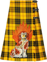 Gucci Embroidered tartan wool skirt