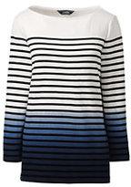 Lands' End Women's 3/4 Sleeve Dip Dye Sailor Tee-Black