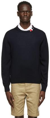 Thom Browne Navy Merino RWB Tab Relaxed-Fit Sweater