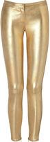 Faith Connexion Gold Slim Fit Leather Pants