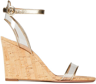 Aquazzura Metallic Leather And Pvc Wedge Sandals