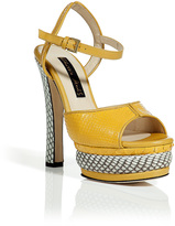 Chrissie Morris Yellow and White Python Platform Sandals
