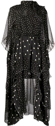 Sacai Asymmetric Hem Polka Dot Print Dress