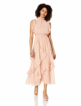 Avec Les Filles Dresses Junior's Mock Neck Smocked Maxi Dress