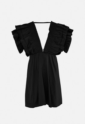 Missguided Black Plunge Frill Sleeve Skater Dress