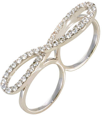 Graziela Gems Infinity Silver Natural White Zircon Two Finger Ring