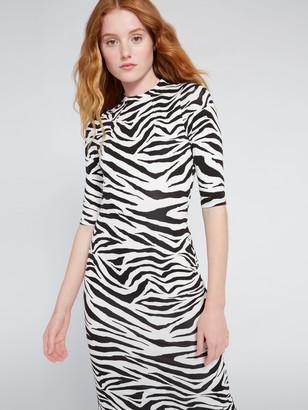 Alice + Olivia Delora Zebra Print Midi Dress