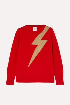 Madeleine Thompson Greve Metallic Intarsia Cashmere Sweater - Red
