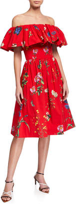 Oscar de la Renta Off-the-Shoulder Floral-Pattern Day Dress