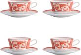 Vista Alegre Coralina Teacups & Saucers, Set of 4