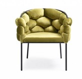 Bronx Nahunta Velvet Upholstered Arm Chair in Green Ivy