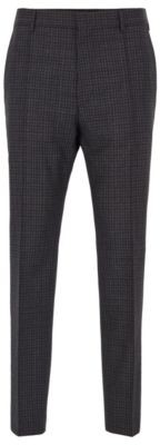 HUGO BOSS Relaxed Fit Cropped Pants In Washable Virgin Wool - Light Grey