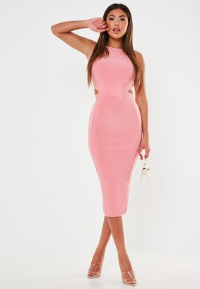 Missguided Premium Pink Bandage High Neck Cut Out Midi Dress
