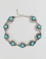 Reclaimed Vintage Turquoise & Silver Sun Choker