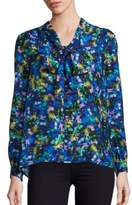 Milly Silk Jewel-Print Tie-Neck Blouse