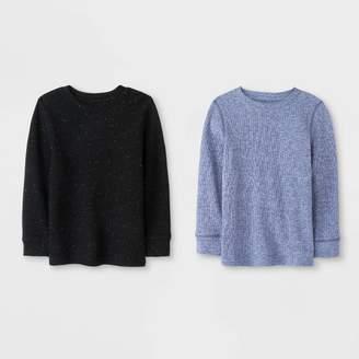 Cat & Jack Toddler Boys' Long Sleeve 2pk Thermal T-Shirts Heather Navy/Black
