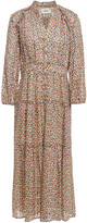 Thumbnail for your product : BA&SH Gathered Metallic Jacquard Midi Dress