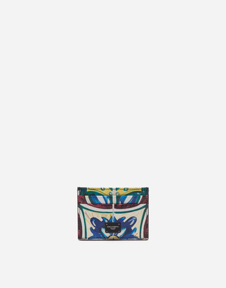 Dolce & Gabbana Credit Card Holder In Dauphine Calfskin With Maiolica Print