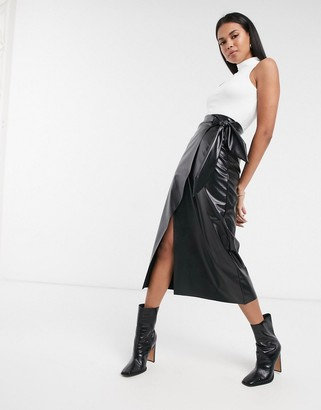 ASOS DESIGN leather look pencil skirt with tie detail in black