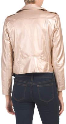 Juniors Metallic Faux Leather Moto Jacket