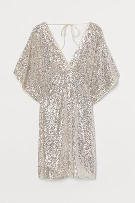 H&M Wide-sleeved Sequined Dress - Beige