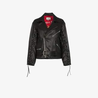 Gucci mushroom print leather biker jacket