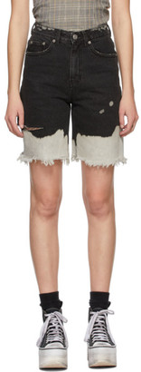 Sjyp Black Denim Bleached Shorts