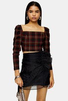Topshop Black Tartan Long Sleeve Crop Blouse